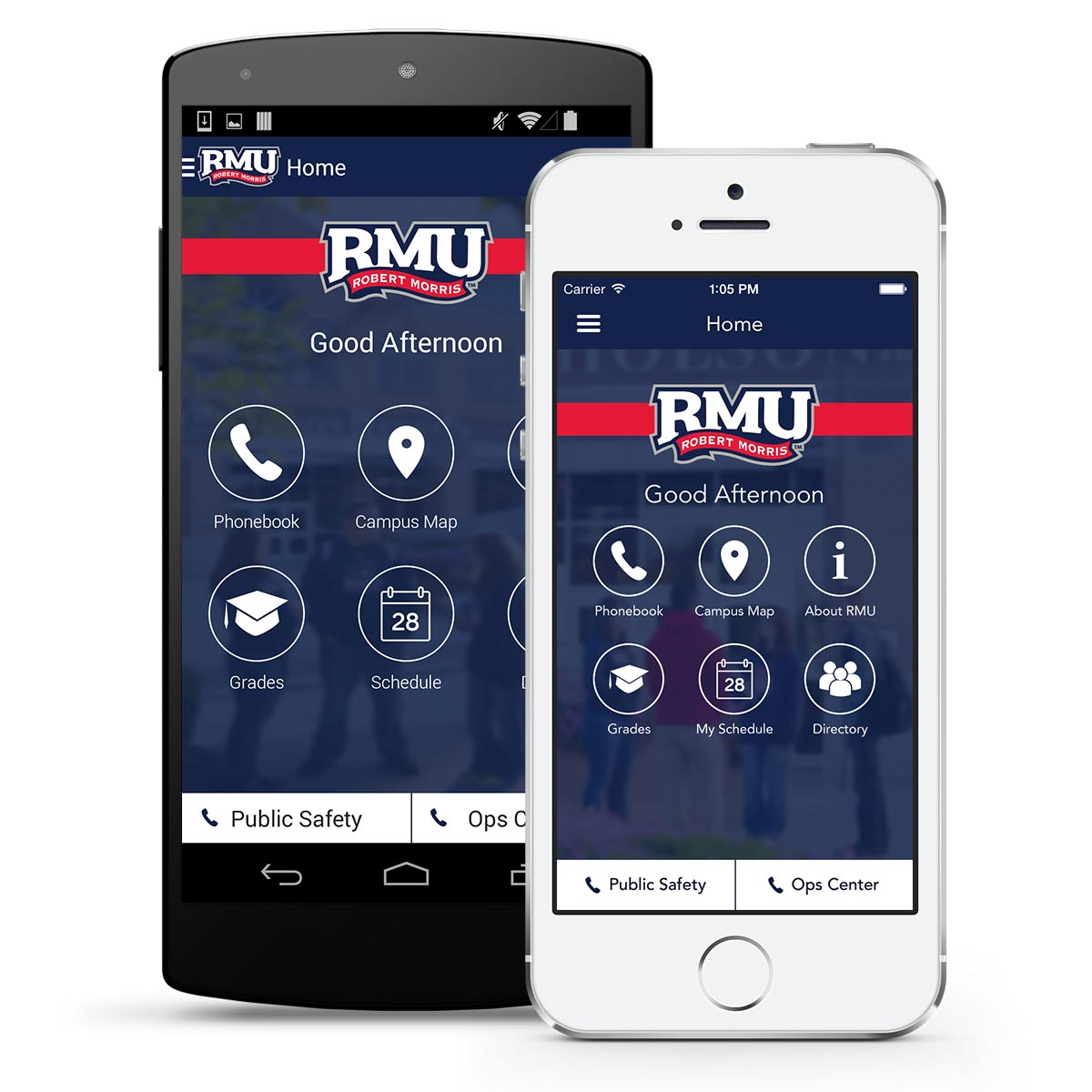 iPhone and Android screenshot of RMU Mobile